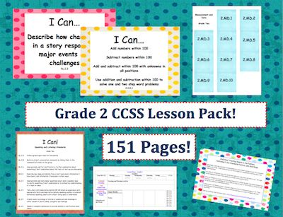 This lesson pack contains everything you will need to teach, track, and display the Common Core State Standards for Grade Two!  Over 150 pages!  $4.95