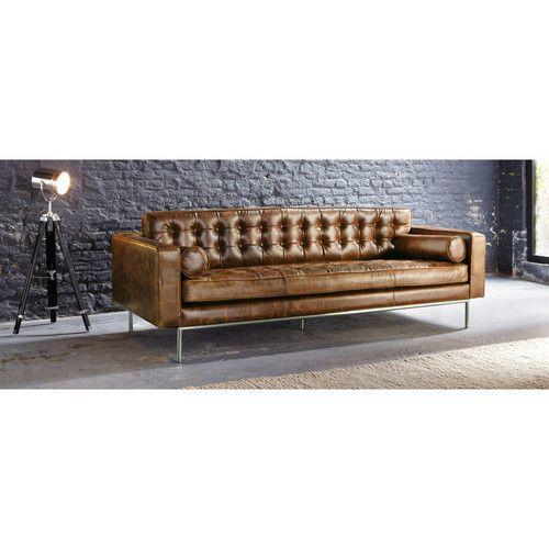 3-Sitzersofa, nicht ausziehbar, Leder vintage-braun - Mikado