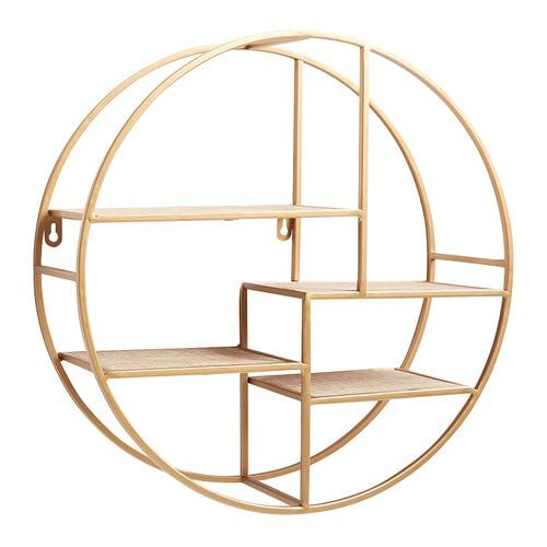Golden Round Asymmetrical Wall Shelf Wall Shelves Gold Shelves Shelves