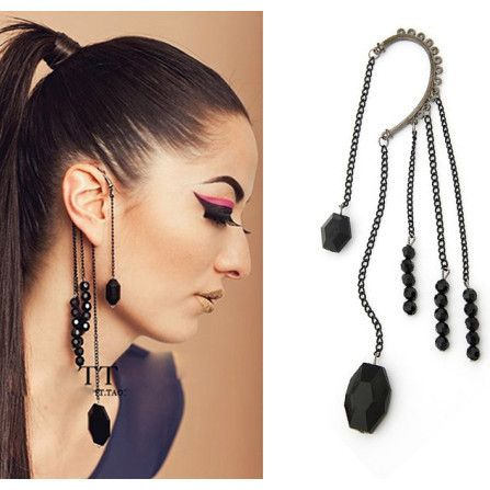 Exaggrated Punk Rock Night Party Style Black Beads Tassel Cuff Earring Gothic Ear Cuff Wholesale US $0.89
