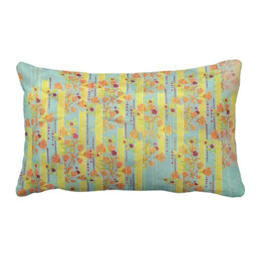 #pillow #blue #yellow #roses