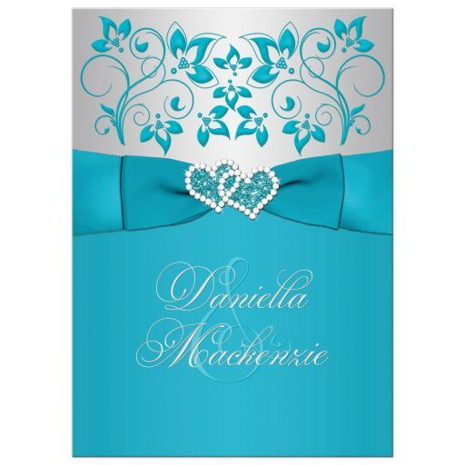 Wedding Invitation Turquoise Silver Floral Printed Ribbon Joined Jeweled Hearts Turquoise Wedding Invitations Christian Wedding Invitations Silver Wedding Invitations