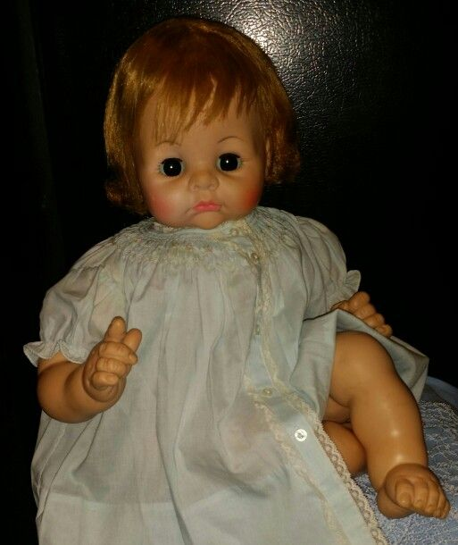 "1965 Madame Alexander ""Pussycat"" big baby crier doll. This was a heavy , well-made baby doll, and you just cannot find any big baby dolls like this one nowadays."