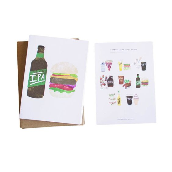 Set of 8 Beer & Food Pairings Cards - thank you cards, greeting cards, gifts for guys, birthday cards, gifts for boyfriend, housewarming gift