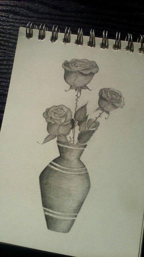 Roses Roze W Wazonie Rysunek Rosliny Drawings Art Male Sketch