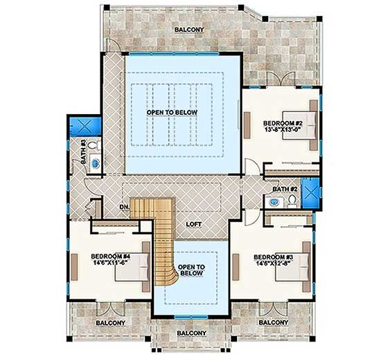 Plan 86011bs Florida House Plan With Big Upper Balconies Florida House Plans Model House Plan House Plans