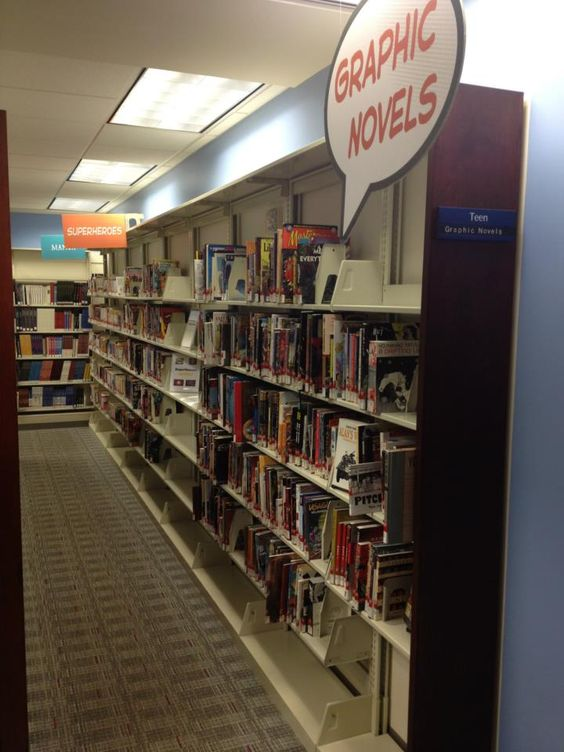 """Photo of the Kalamazoo Public Library Graphic Novel section, which is set up """"browsing style""""--grouped into manga, superheroes, etc.  Love the sign!  https://sphotos-a.xx.fbcdn.net/hphotos-ash3/644066_10151102371313261_858401529_n.jpg"""
