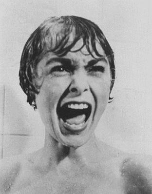 名監督ヒッチ・コック監督の作品『サイコ』の中の有名なワンシーン。マリオンはジャネット・リーが演じた。