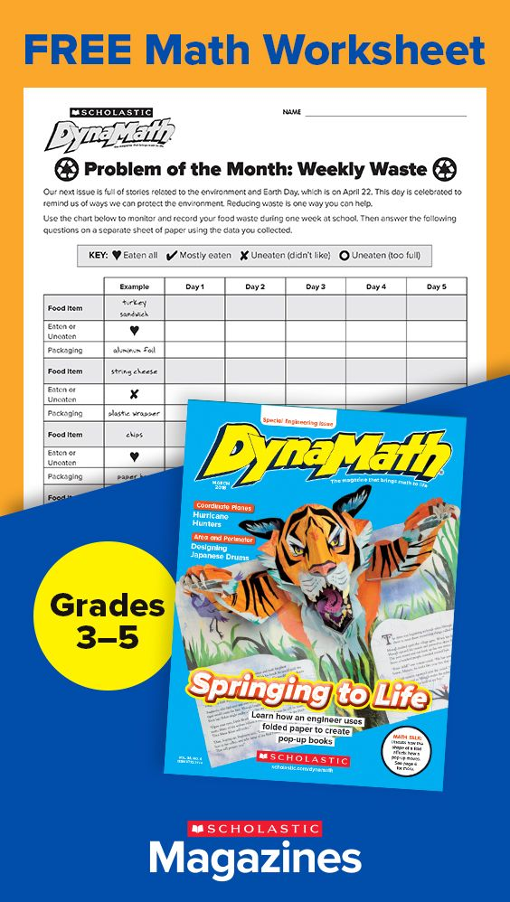 Have Students Track Their Food Waste In This Free Downloadable Math Worksheet Visit Dynamath Scholastic Com For More Math Worksheet Free Math Worksheets Math