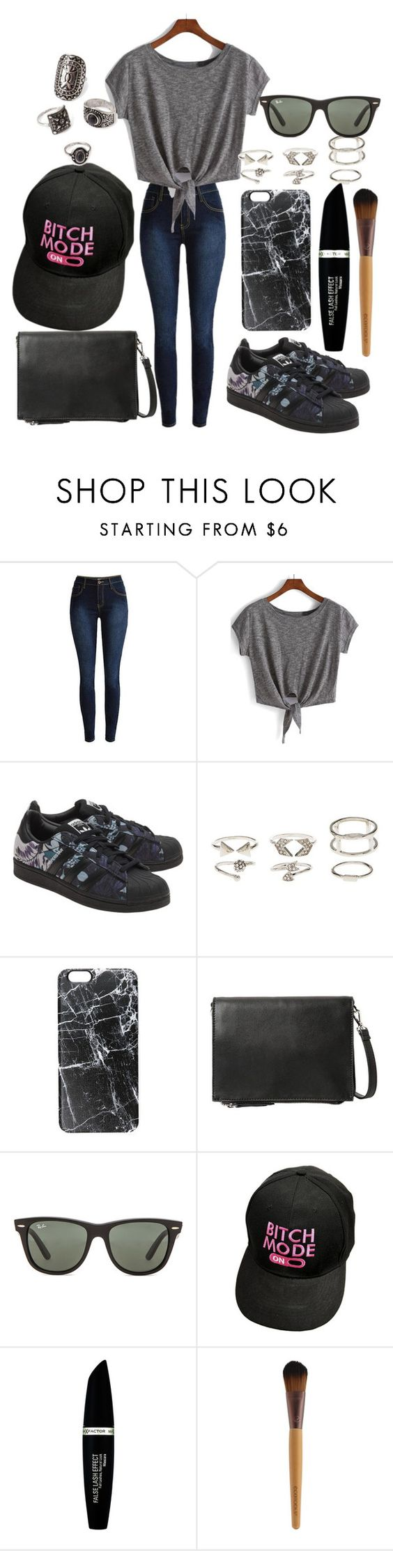 """""""Untitled #124"""" by the-fashion-fantasy ❤ liked on Polyvore featuring adidas Originals, Charlotte Russe, Casetify, MANGO, Ray-Ban, Max Factor and Forever 21"""