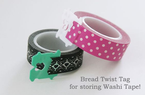 Washi Tape Storage Tip: Add a Bread Twist Tag to the end of the roll! It makes it easy to spot the end of the roll, and easy to unroll the tape too. Get cute washi tapes at www.washitapes.nl