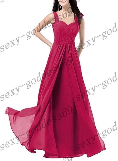 Long Chiffon Bridesmaid Formal Party Evening Cocktail Prom Gown Dress Size 6-26