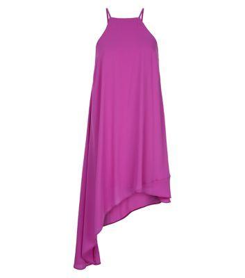 Purple Strappy Asymmetric Hem Dress