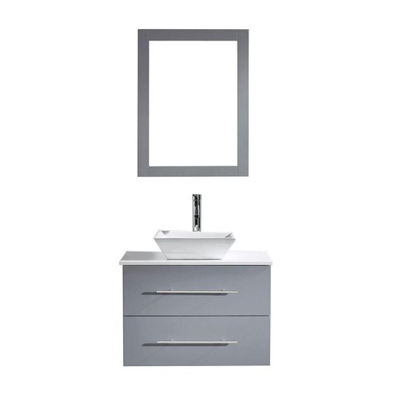 Virtu USA Marsala 29.52 in. W x 22.05 in. D x 20.86 in. H Grey Vanity With Stone Vanity Top With White Square Basin and Mirror