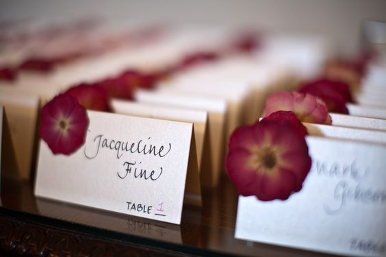 Fun Escort Cards with dried flowers