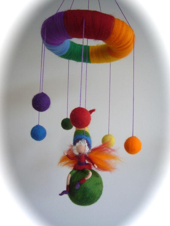 Traumfänger & Mobiles - Mobile, Regenbogen Fee,Elfe. Gefilzt.Waldorf. - ein Designerstück von Filz-Art bei DaWanda