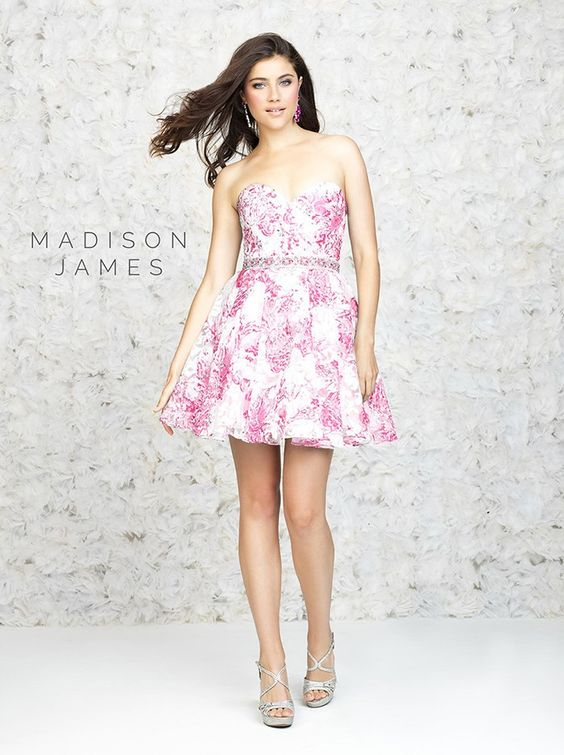 Madison James 15-178 In Stock Floral Print Short Homecoming Cocktail Prom Dress