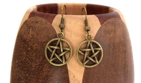 Boucles d'oreilles pentacle sorcière, boucles d'oreille étoile 5 branches bronze…