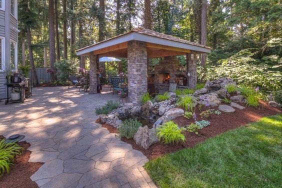 Fireplace Landscape Design - Lake Oswego, Oregon | Exterior Design | Paradise Restored