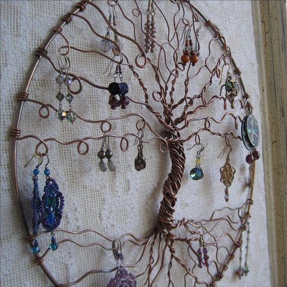 Jewelry tree copper tree of life wall hanging jewelry for Porte bijoux