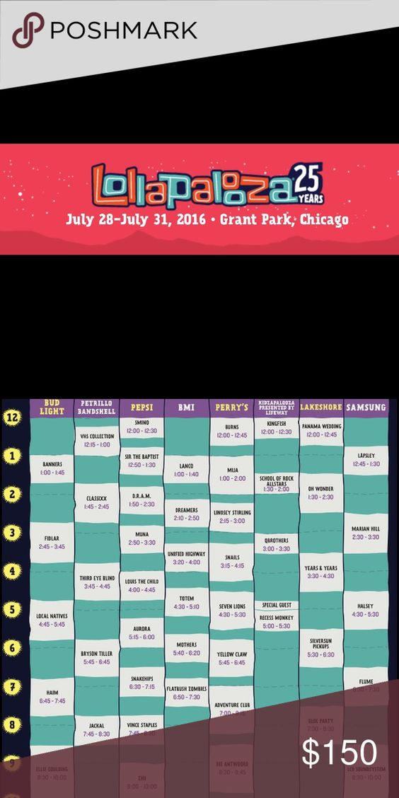 LOLLAPALOOZA TICKET 2016 For Sunday, July 31 ONLY! Schedule pictured. Goes to highest bidder starting at $150. Other