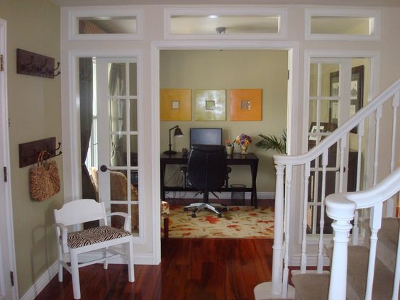 Great idea turned unused dining room into beautiful home for Dining room into office