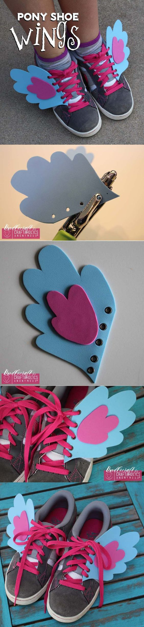 My Little Pony Shoe Wings! Add some fun personality and style to your kicks with these awesome DIY Shoe wings! |www.CraftaholicsAnonymous.net