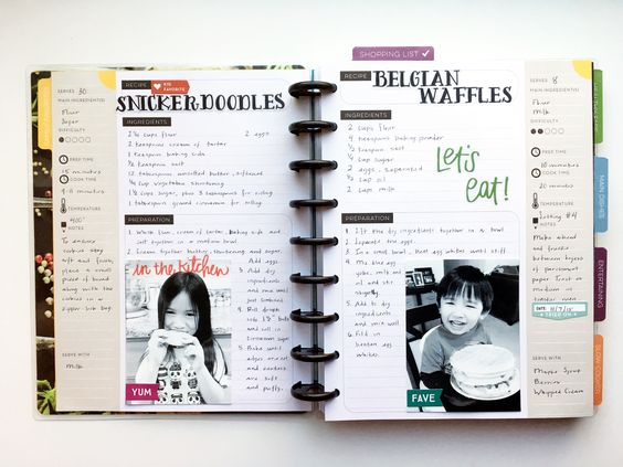 Snickerdoodles & Belgian Waffles in The Happy Planner™ Recipe Organizer of mambi Design Team member Theresa Doan  | me & my BIG ideas