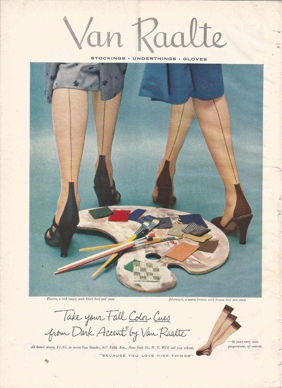 1952 VAN RAALTE stockings original print ad