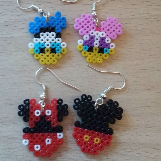 Donald and Daisy - Minnie and Mickey earrings hama mini beads by ram4n