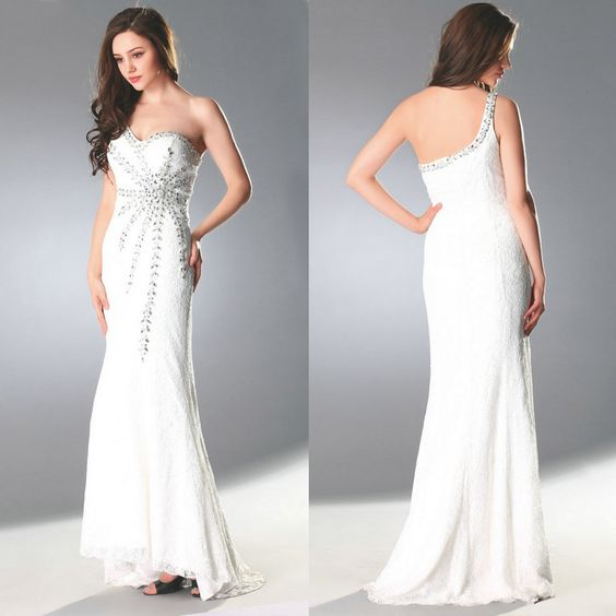 2015 Graceful Handmade Evening Dresses Trumpet/Mermaid One Shoulder Brush Train Beading Crystal Lace Prom Dresses