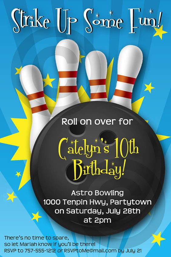 BOWLING INVITATION - Printable - Birthday Party - Customizable - bowling invitation