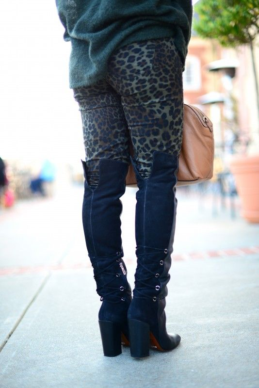 Zara army green leopard pants, Schutz Aiyana over the knee lace up ...