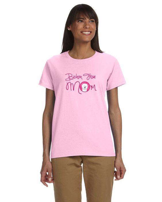 Pink Bichon Frise Mom T-shirt Ladies Cut Short Sleeve ExtraLarge SC9135PK-978-XL