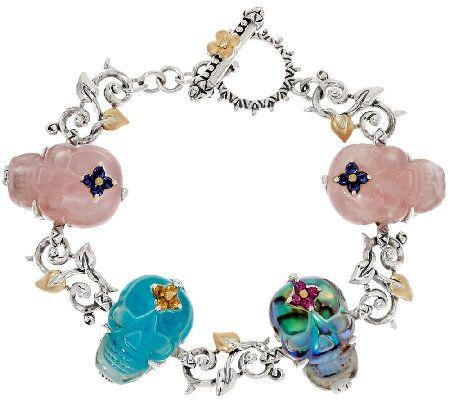 Barbara Bixby Sterling & 18K Gemstone Skull 6-3/4 Bracelet
