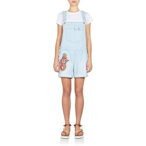 Stella McCartney Embroidered Short Dungaree Denim Overalls (1.175 BRL) ❤ liked on Polyvore featuring jumpsuits, rompers, apparel & accessories, sun faded blue, blue rompers, short bib overalls, short overalls, denim dungaree and denim overalls