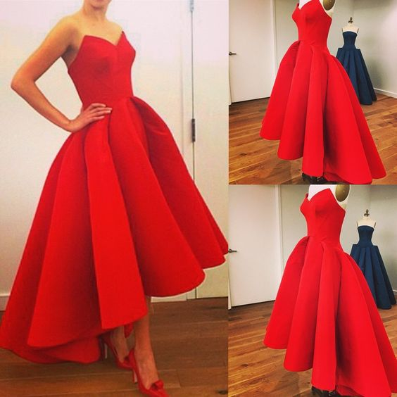 Red Asymmetrical Ball Gown Sweethear Neckline Hi-lo Prom Dress Wedding Party Dress Red Carpet Dress