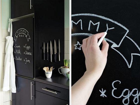Kostenlose Anleitung Wohnen: Kühlschrank mit Tafelfarbe bemalen / free living diy tutorial: use chalk paint for your fride by Nicest Thing via DaWanda.com