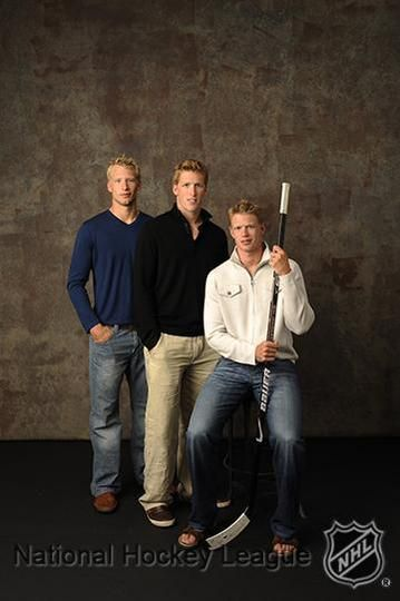 The Staal Brothers (left to right): Jordan, Marc and Eric.