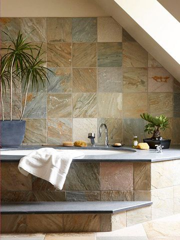 Colorful bathrooms large bathtubs light browns and plants for Earth tone bathroom designs