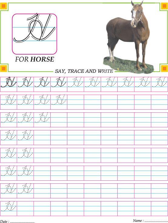 Printables Cursive Capital Words For Kinder Garden cursive capital letter h practice worksheet kids games worksheet
