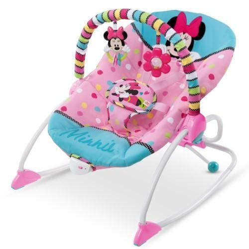 Disney Baby Infant To Toddler Rocker vibrate Minnie Mouse Stars Smiles Pink