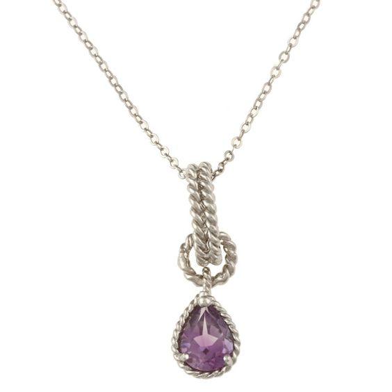 La Preciosa Sterling Silver Amethyst Teardrop Necklace Women's
