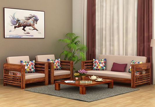 Buy Feltro 3 1 1 Seater Wooden Sofa Teak Finish Online In India In 2020 Wooden Sofa Set Designs Wooden Sofa Set Wooden Sofa
