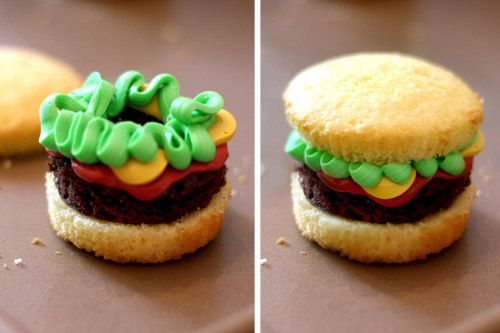 """How precious and hilarious of a project would it be to bake these with your kids? Little """"hamburgers"""" made from muffins (""""bun""""), brownies (""""burger meat""""), colored frosting (""""lettuce,"""" """"cheese,"""" """"tomato"""")! Plus, instructions on how to make """"fries"""" out of cookie dough!"""