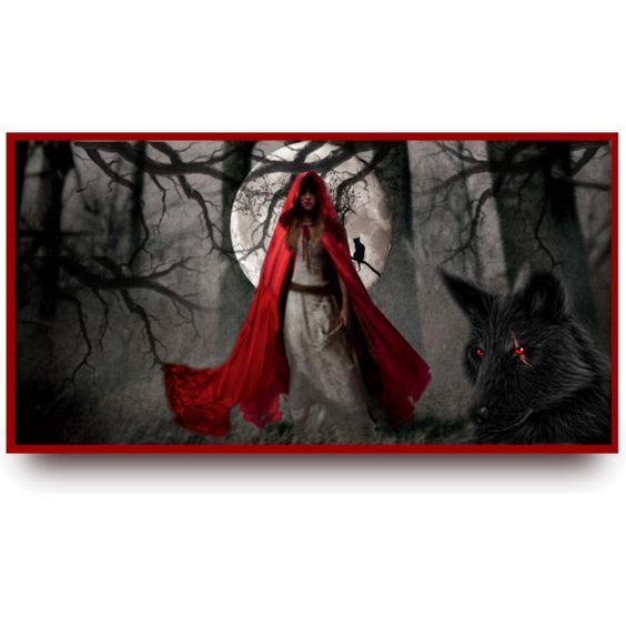 Into The Night-Red Riding Hood by lilmsgunshyne on Polyvore featuring art