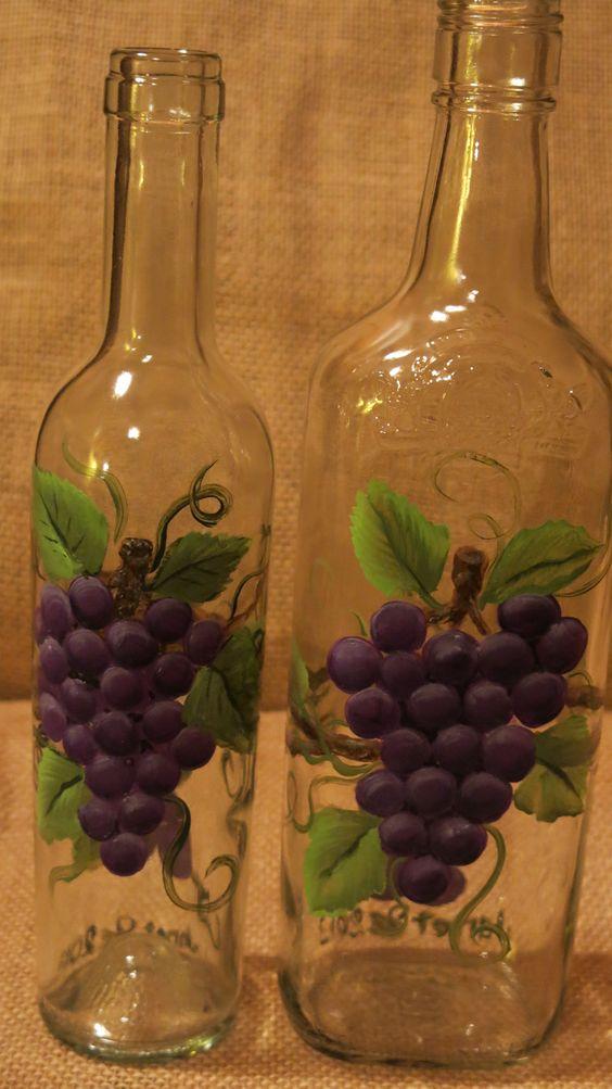 Painted grape bottles painted wine bottles pinterest for Easy wine bottle painting ideas