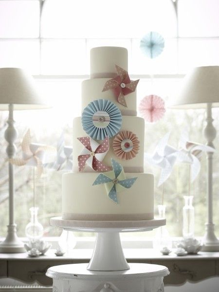 Blue or Pink. Although this is a wedding cake, I think that it would make and excellent alternative to a 'baby' themed cake, for a shower. Vintage Pinwheel Wedding Cake Zoe Clark Cakes