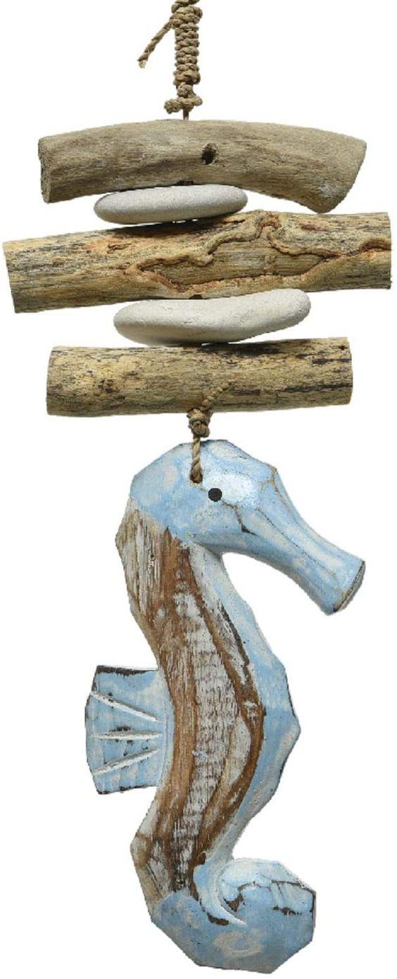 dekorativer maritimer Dekoanhänger aus Holz Motiv Seepferdchen Material: Treibholz, Shabby Antike Optik Maße: x x 30 cm lang... *Pin enthält Werbelinks