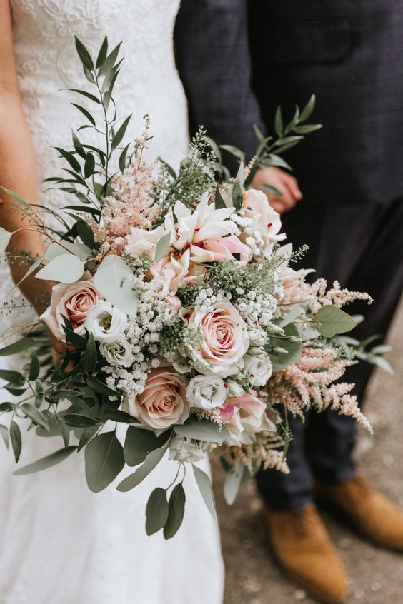 Blush Wedding Bouquet With Roses And Eucalyptus | By Wild Tide Weddings | Nancarrow Farm Wedding Venue | Cornwall Wedding Venue | Kids At Wedding | Flower Girl | Wooden Wedding Sign | Pink Bridesmaid Dresses | Eucalyptus Crown | Floral Getting Ready Robes | Travel Themed Wedding | Gold Detail Seating Plan | Barn Wedding | Rustic Wedding Decor | Blush Bouquet |